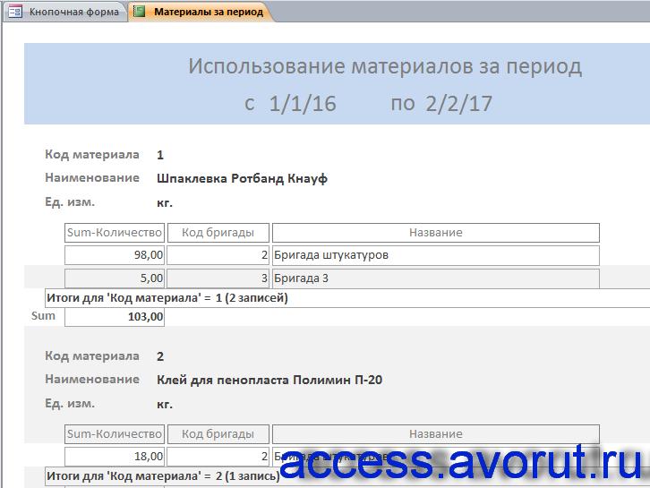 База данных «Строительная фирма». Отчёт «Использование материалов за период».