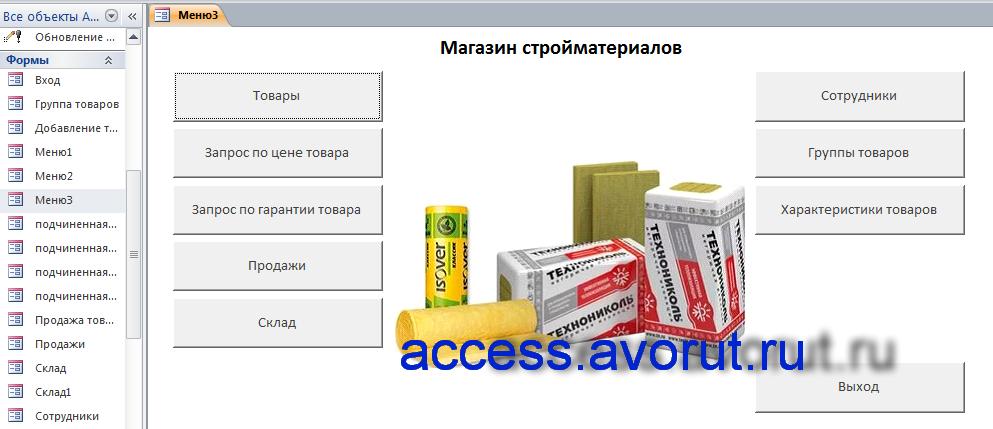 Готовая база данных access «Магазин стройматериалов» для курсовой или дипломной работы