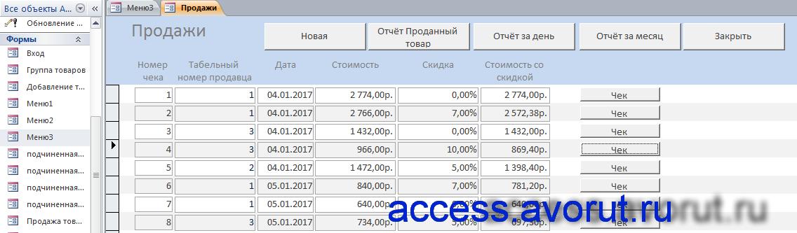 Скачать готовую базу данных access Магазин стройматериалов
