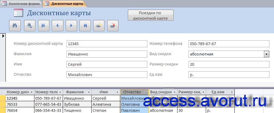 Готовая база данных access «Такси». Дисконтные карты для заказа такси.