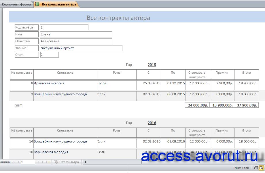 Отчёт «Все контракты актёра». Скачать готовую базу данных access «Занятость актеров театра»