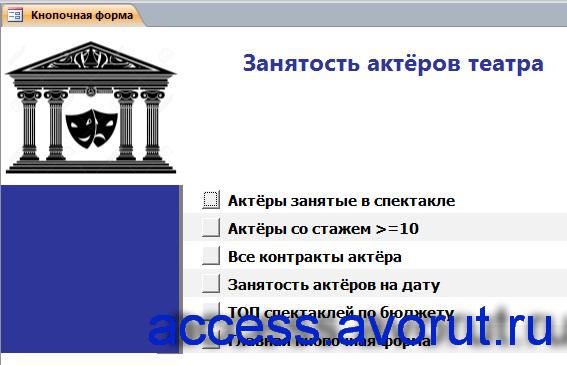 Главная кнопочная форма готовой базы данных access «Занятость актеров театра» - страница «Отчёты».