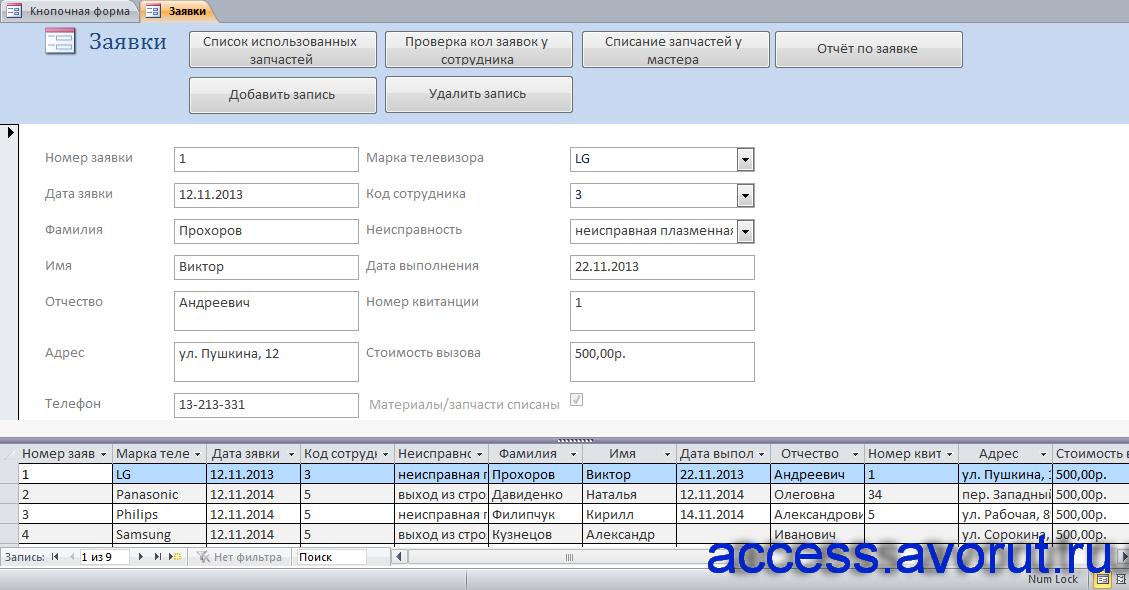 Скачать базу данных access Телеателье. Форма «Заявки»