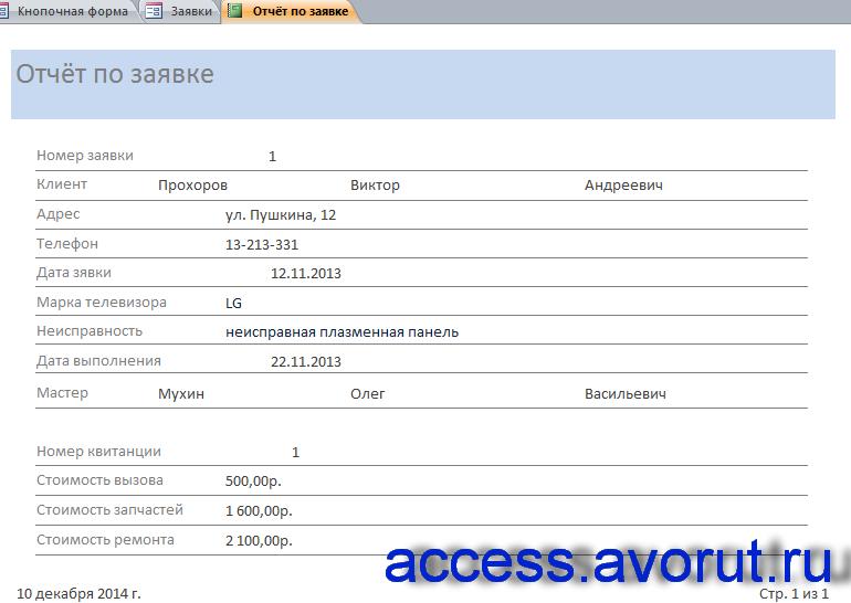 Скачать пример базы данных access Телеателье. Отчёт по заявке