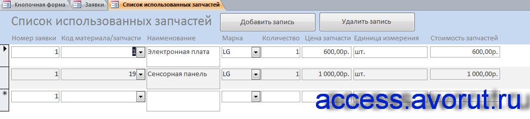 Скачать готовую базу данных access Телеателье. Форма «Список использованных запастей»
