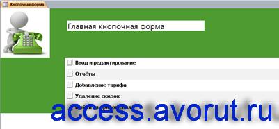 Главная кнопочная форма готовой базы данных «Учёт телефонных переговоров»