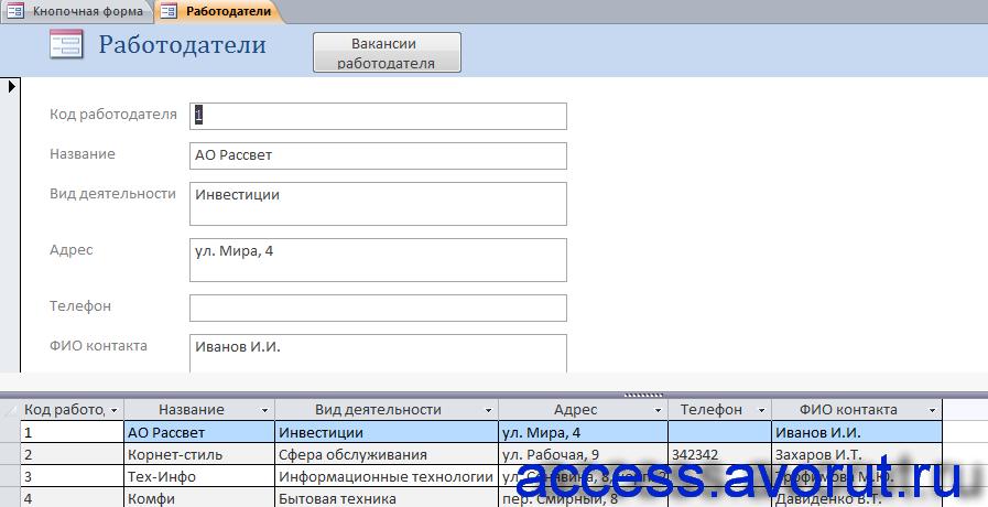 Форма «Работодатели» примера базы данных «Бюро трудоустройства».