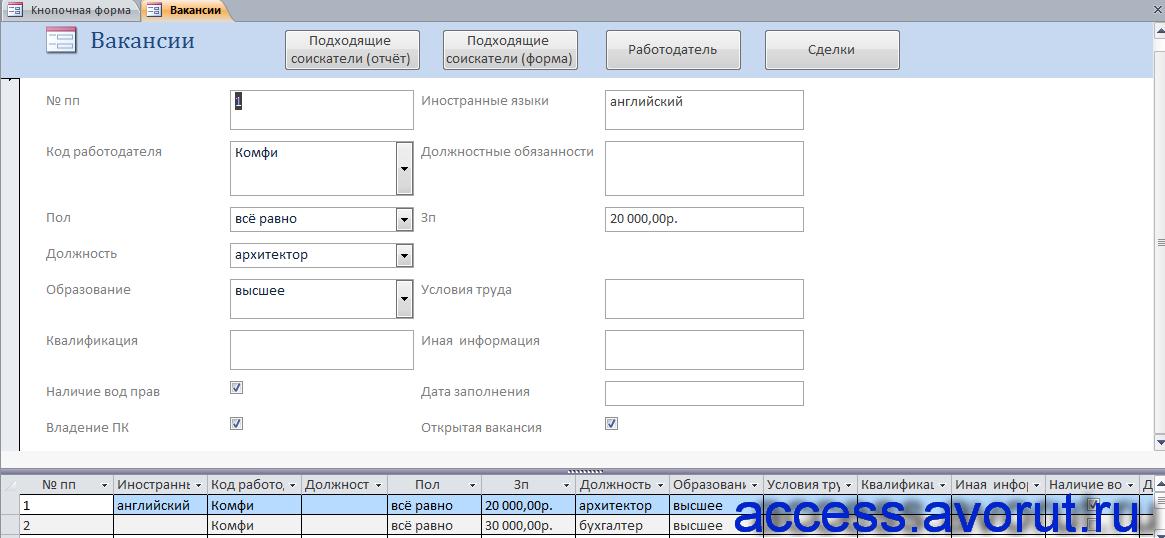 Скачать «Вакансии» готовой базы данных «Бюро по трудоустройству».