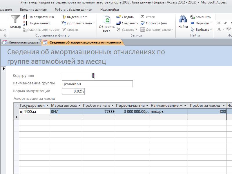 Готовая база данных access. Форма «Сведения об амортизационных отчислениях по группе автомобилей за месяц»
