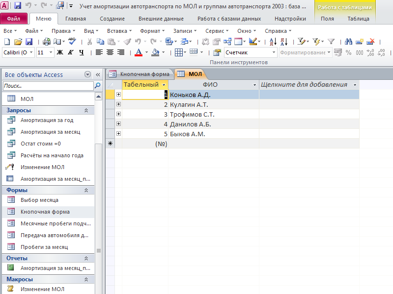 Таблица «МОЛ». Готовая база данных access.