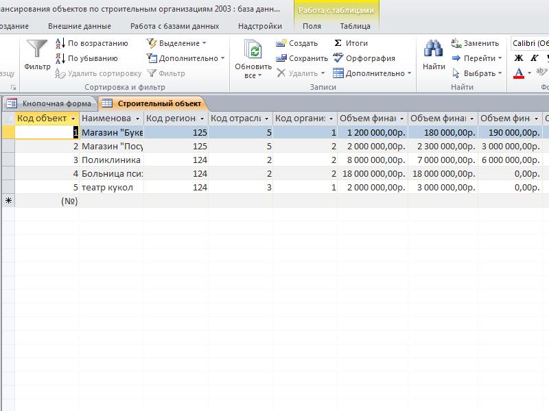 Таблица «Строительный объект». «Учет финансирования объектов по строительным организациям» готовая база данных access.
