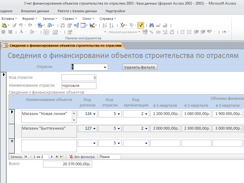 Готовая база данных access. Форма «Сведения о финансировании объектов строительства по отраслям»