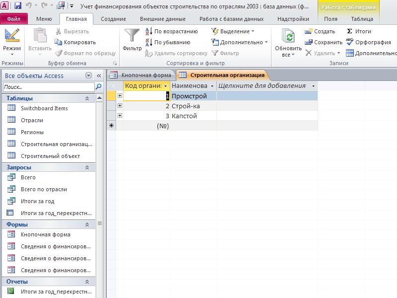 Таблица «Строительная организация». Готовая база данных access.