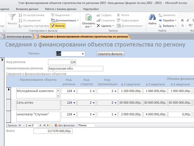 Готовая база данных access. Форма «Сведения о финансировании объектов строительства по региону»