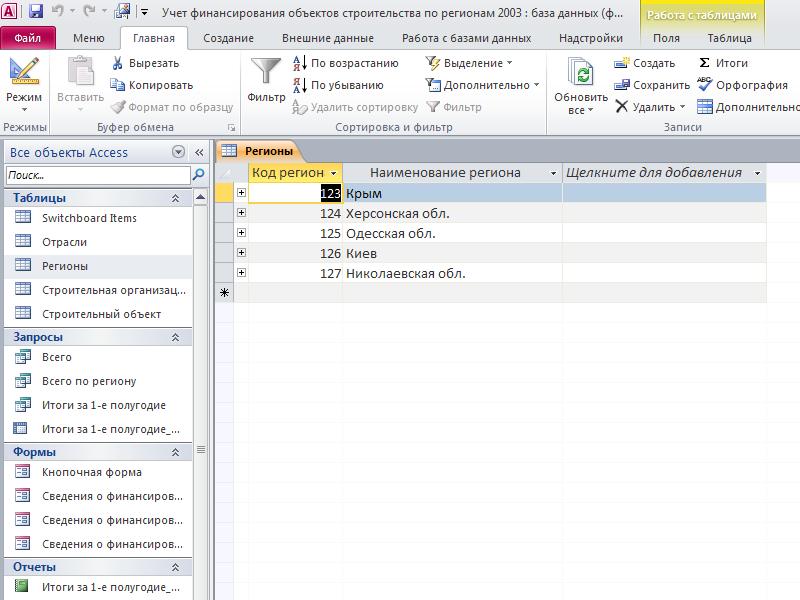 Учет финансирования объектов строительства по регионам. Таблица «Регионы». Готовая база данных access.