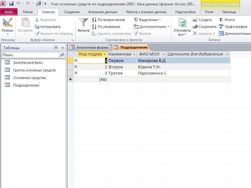 Готовая база данных access. Таблица «Подразделения»