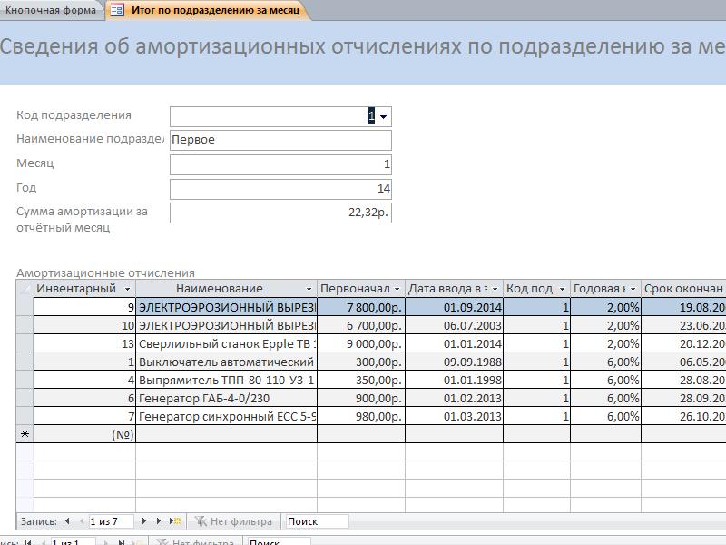 Готовая база данных access. Форма «Сведения об амортизационных отчислениях по подразделению за месяц»