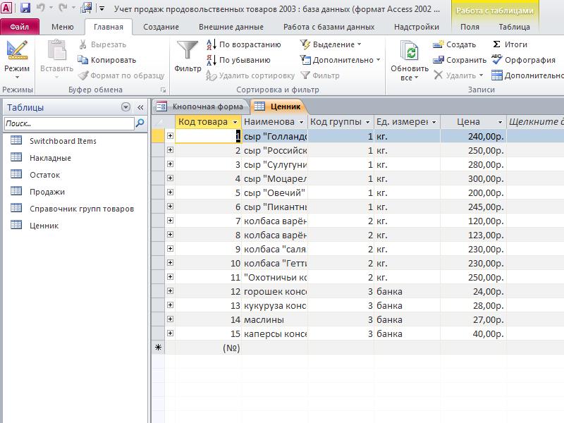 Таблица «Ценник». Учет продаж продовольственных товаров готовая база данных access.