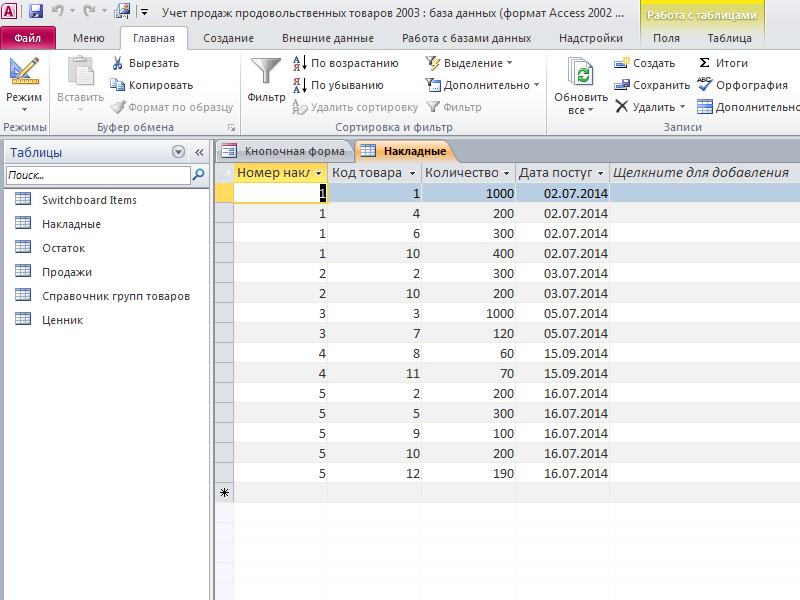 Таблица «Накладные». Готовая база данных access Учет продаж продовольственных товаров.