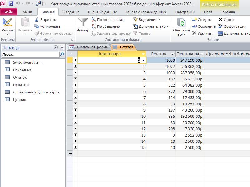 Таблица «Остаток». Готовая база данных Учет продаж продовольственных товаров access.