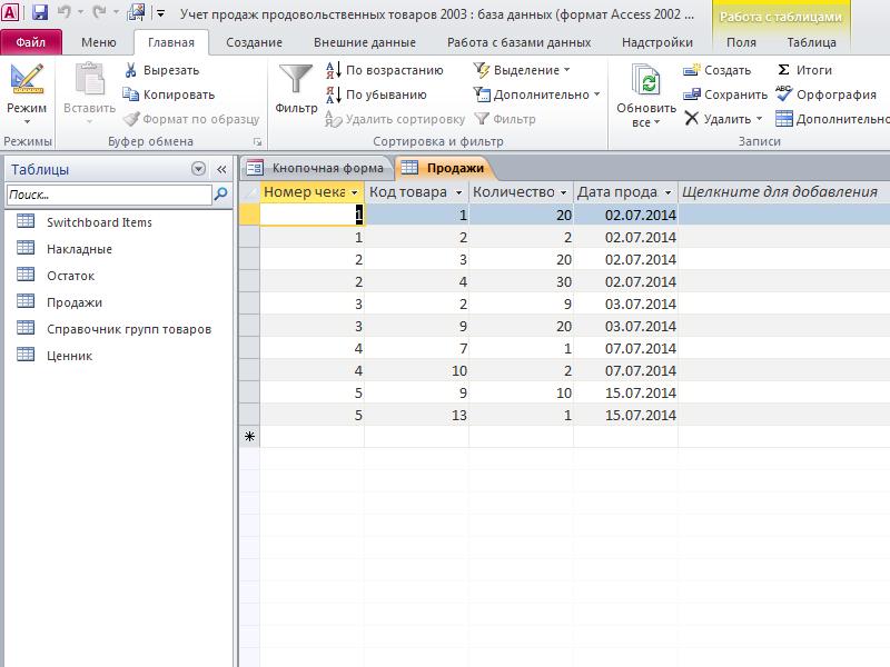 Таблица «Продажи». Готовая база данных access Учет продаж продовольственных товаров.