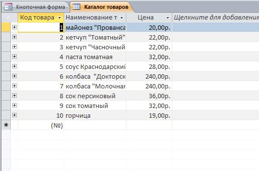 Пример базы данных Учёт торговых заказов access. Таблица «Каталог товаров»