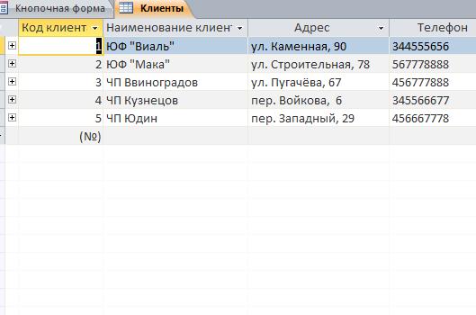Пример базы данных access Учёт торговых заказов. Таблица «Клиенты»