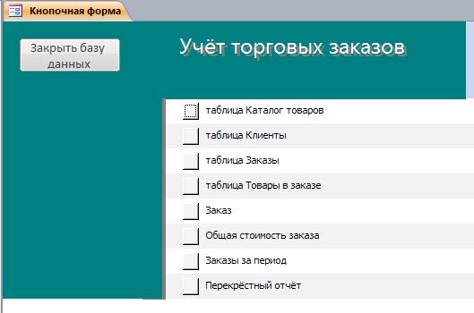 Access. Главная форма базы данных «Учёт торговых заказов»
