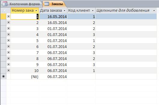 База данных Учёт торговых заказов access. Таблица «Заказы»