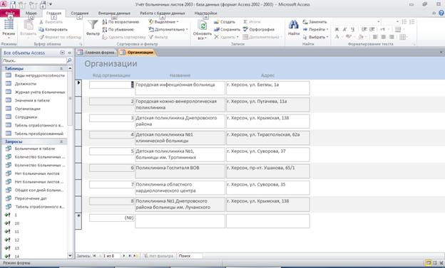 База данных access Учёт больничных листов нетрудоспособности. Форма «Организации»