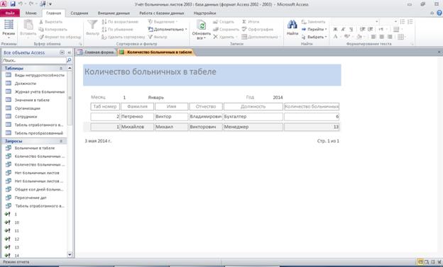 Готовая база данных access. Отчёт «Количество больничных в табеле»