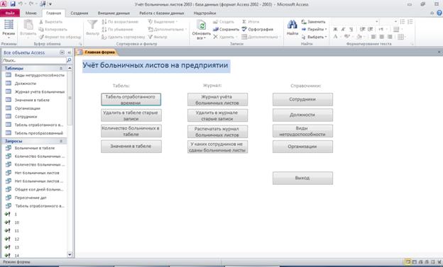 Главная кнопочная форма готовой базы данных access