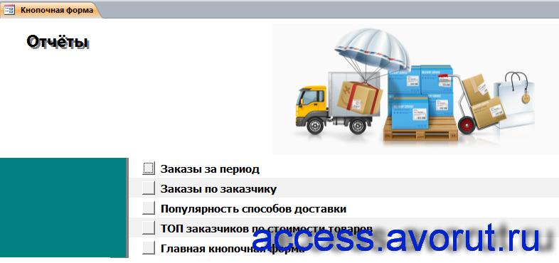 """Скачать готовую базу данных аксесс """"Ведение заказов"""". Страница """"Отчёты""""."""