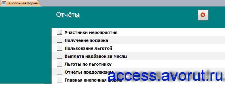 Отчёты готовой базы данных access «Подразделение работы с ветеранами».