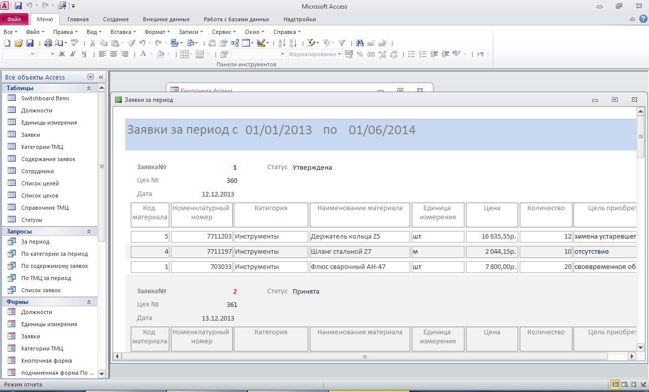 Заявки на приобретение ТМЦ. Отчёт по заявкам за введённый период. Пример базы данных access.