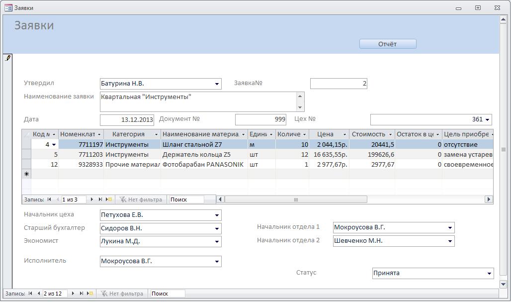 Пример базы данных access. Заявки на приобретение ТМЦ