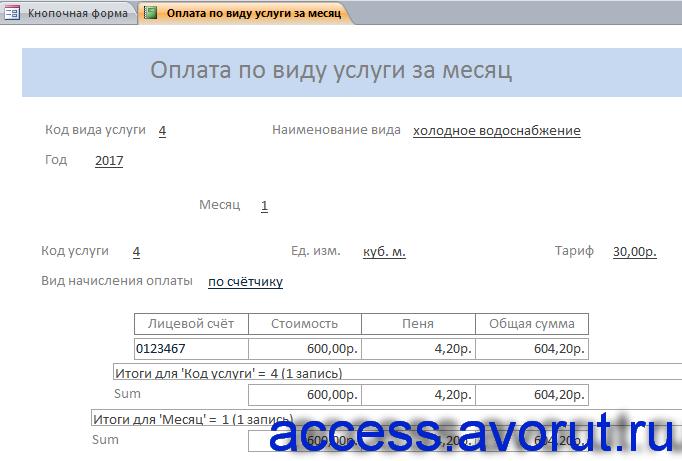 Готовая база данных ЖКХ (ЖЭС). Отчёт «Оплата по виду услуги за месяц».