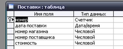 """Пример базы данных (БД) Сеть магазинов. Таблица """"Поставки""""."""