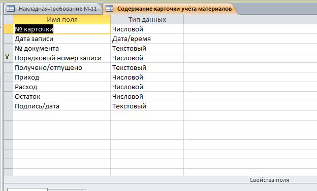 """Скачать пример базы данных Складской учёт материалов. Таблица """"Содержание карточки учёта материалов""""."""