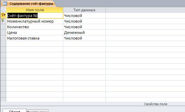"""Скачать базу данных Складской учёт материалов. Таблица """"Содержание счёт-фактуры""""."""