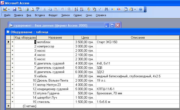 """Скачать базу данных (access Судоремонт. Таблица """"Оборудование"""""""