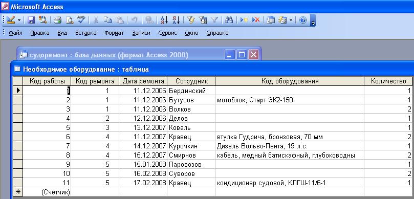 """Готовая база данных Судоремонт. Таблица """"Необходимое оборудование""""."""